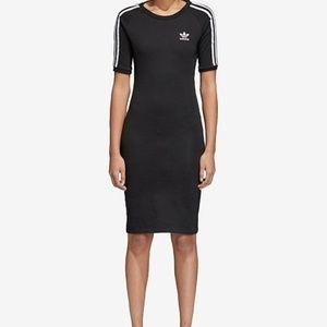 Adidas Bodycon Dress Black Midi Trefoil Logo